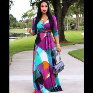 Dresses & Skirts - Bohemia Printed Fitted Plus Size Maxi Dress